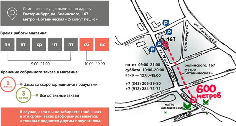 Информация о самовывозе заказов из интернет-магазина Biofam.ru