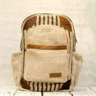 Рюкзак из конопли Нарантан светлый карман и полоски джинс фото 1