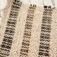 Домоткань из конопли плетение «ромб» голубая и белая фото