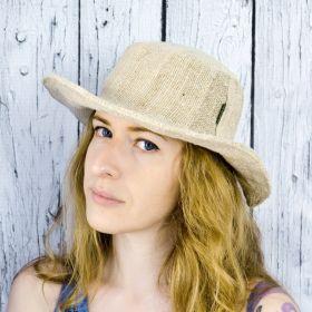 шляпа из конопли белого цвета фото