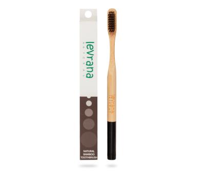 Бамбуковая зубная щетка чёрная Levrana фото